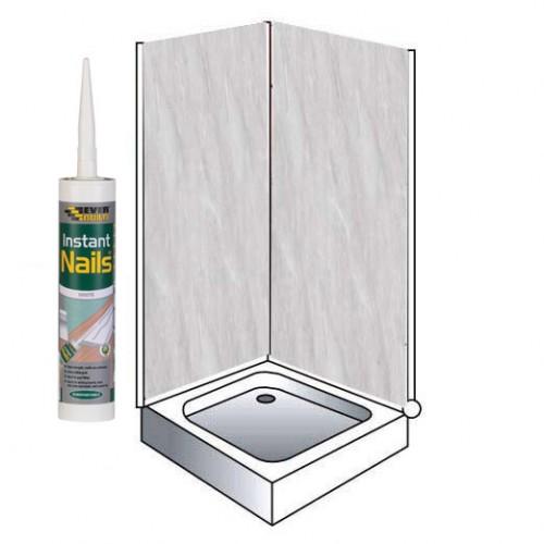 grey marble shower wall panels kit 1000mm x 24m x 10mm 2