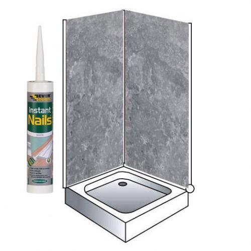 grey metalic shower wall panels kit 1000mm x 24m x 10mm 2